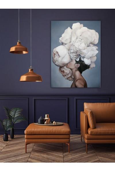 Özverler Çiçek Saçlı Kadın Yağlı Boya Dokulu Tablo Kage-714 60 x 90