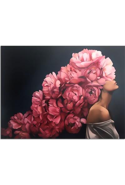 Özverler Çiçek Saçlı Kadın-2 Yağlı Boya Dokulu Kapo-788 75 x 100