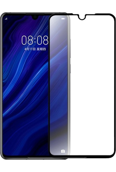 Happyshop Huawei P30 Full Yapışan 5D Cam Ekran Koruyucu Siyah