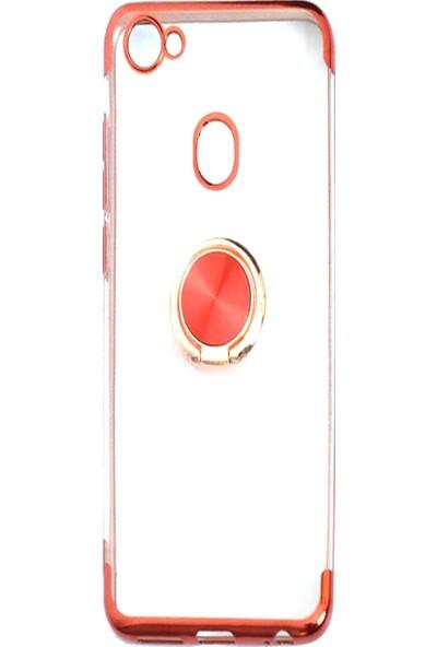 Happyshop Casper Via G3 Kılıf Yüzüklü 4 Köşe Renkli Şeffaf Gess Silikon Kırmızı + Cam Ekran Koruyucu