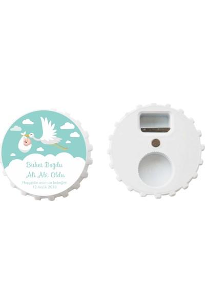 Öztek 25 Adet Kişiye Özel Kapak Şeklinde 77 mm Çapında Magnetli Açacak Yeşil Leylekli Bebek Hediyeliği