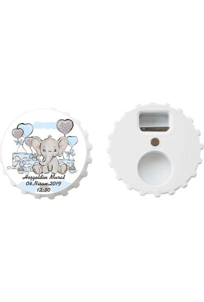 Öztek 25 Adet Kişiye Özel Kapak Şeklinde 77 mm Çapında Magnetli Açacak Mavi Filli Bebek Hediyesi