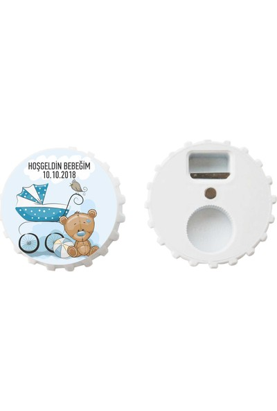 Öztek 25 Adet Kişiye Özel Kapak Şeklinde 77 mm Çapında Magnetli Açacak Pusetli Ayıcıklı Bebek Hediyesi
