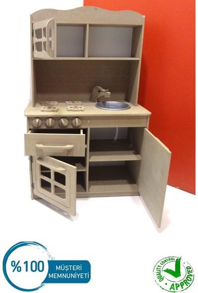 Ahşap Mdf Çocuk Oyun Mutfağı Dolabı Seti Ahşap Montessori ( Büyük Boy ) Boyasız-Ham