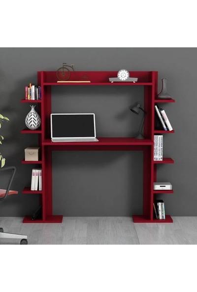 Moonlife Temo Kitaplıklı Çalışma Masası Kırmızı