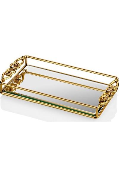 Cemile Altın Düğümlü Küçük Tepsi 30 x 18 cm