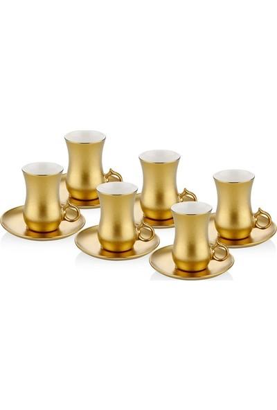 Cemile Altın Kaplama 12 Parça Çay Seti