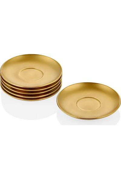Cemile Altın Kaplama 6 lı Çay Tabağı Seti 12 cm