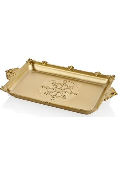 Cemile Altın Kaplama Dikdörtgen Tepsi 49 cm