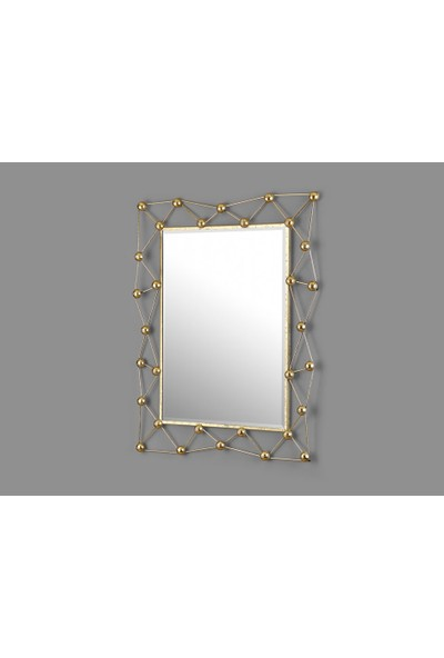 Cemile Gold Atom Desen Dikdörtgen Ayna 66 x 82 cm