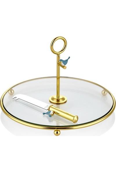 Cemile Kuşlu Altın Kaplama Mavi Bıçaklı Peynir Servisi 25 cm