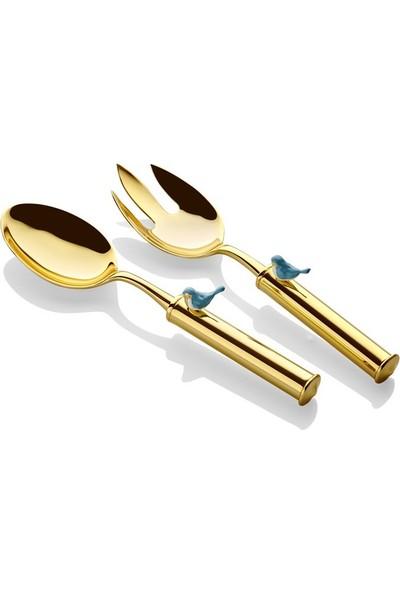 Cemile Kuşlu Altın Kaplama Mavi Salata Servisi 30 cm