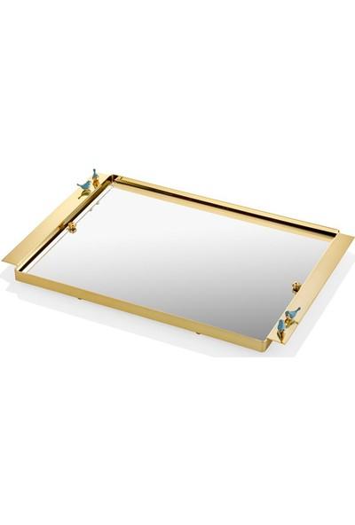 Cemile Kuşlu Altın Kaplama Mavi Tepsi 40 x 25 cm
