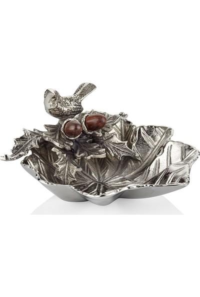 Cemile Kuşlu Nuts Gümüş Yaprak Çerezlik 18 cm