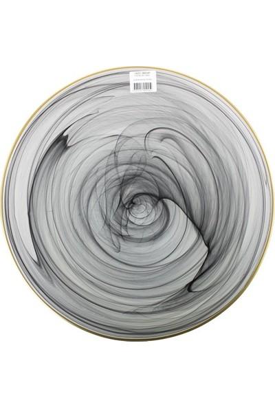 Cemile Siyah Altın Rim 6 lı Servis Tabagı 31 cm