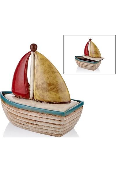 Cemile Yelkenli Kapaklı Beyaz B. Kayık 31 cm