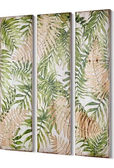 Cemile Yeşil 3 Parça Duvar Tablosu 30 x 100 cm