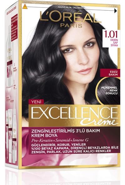 L'Oréal Paris Excellence Creme Saç Boyası 1.01 Derin Saf Siyah