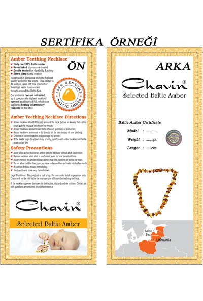Chavin Kehribar Kolye Kız Erkek Çocuk Bebek Diş Kolyesi Dz73