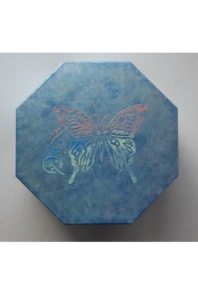Mavi Yıldız Altıgen Kelebeğin Rüyası Ahşap Takı Kutusu