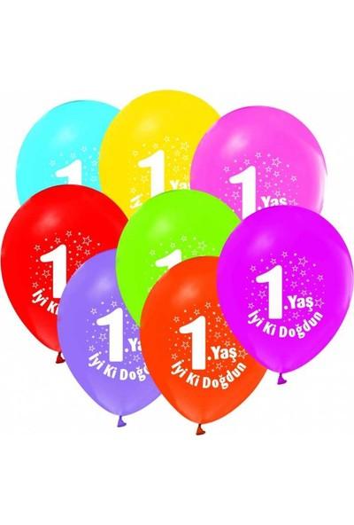 Tahtakale Toptancısı Balon Baskılı 12 İnc 1+1 İyiki Doğdun 1 Yaş Karışık Renkli 50 Adet