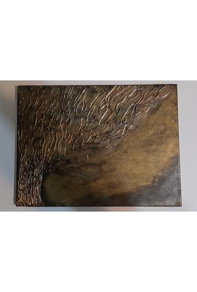 Mavi Yıldız Bronz Ağaç Kanvas Boya Tablo