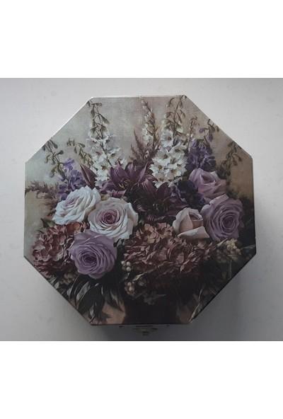 Mavi Yıldız Çiçek Buketi Ahşap Takı Kutusu