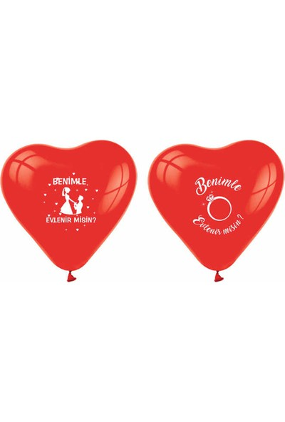 Tahtakale Toptancısı Kalp Balon Benimle Evlenirmisin Baskılı Kırmızı 20 Adet