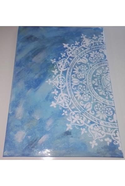 Mavi Yıldız Mavi Mandala Kanvas Boya Tablo 1
