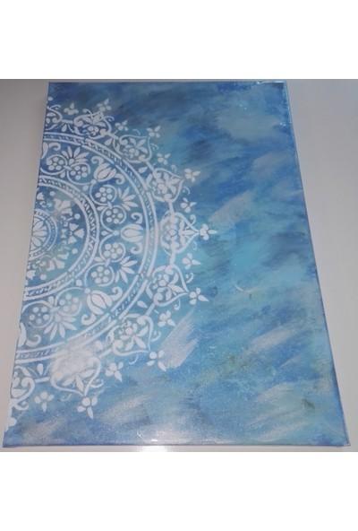 Mavi Yıldız Mavi Mandala Kanvas Boya Tablo 2