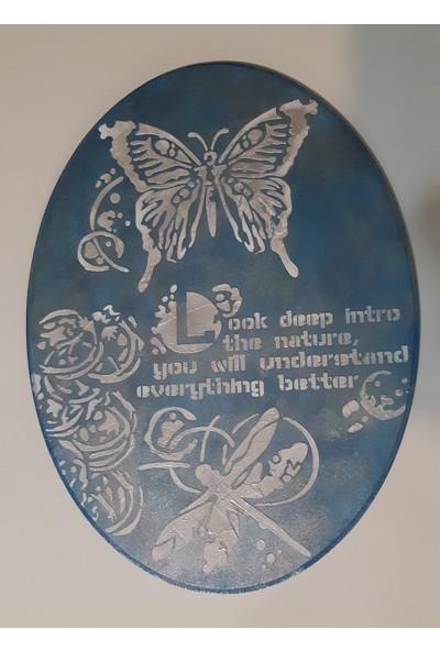 Mavi Yıldız Oval Doğa Ahşap Duvar Panosu