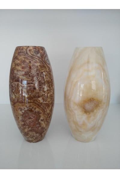 Mimart Stone Oval Vazo Mermer Dekor