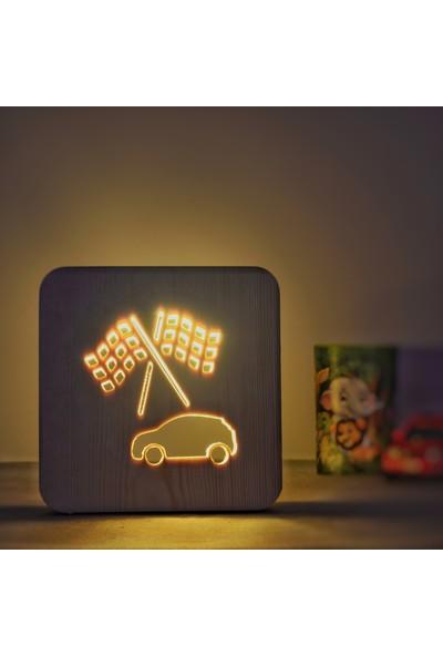 Starmood 3D 3 Boyutlu Ahşap Araba Çocuk Odası Led Masa Üstü Gece Lambası