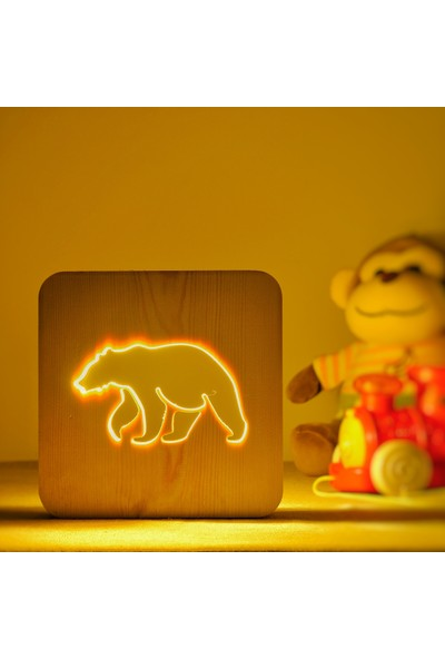 Starmood 3D 3 Boyutlu Ahşap Ayı Bear Led Masa Üstü Gece Lambası