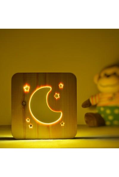 Starmood 3D 3 Boyutlu Ahşap Çocuk Ay-Yıldız Led Masa Üstü Gece Lambası