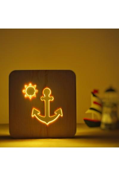 Starmood 3D 3 Boyutlu Ahşap Gemi Çapa Led Masa Üstü Gece Lambası