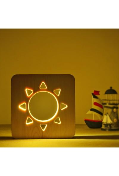 Starmood 3D 3 Boyutlu Ahşap Güneş Kalp Led Masa Üstü Gece Lambası