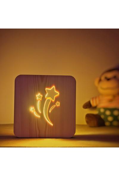 Starmood 3D 3 Boyutlu Ahşap Kayan Yıldız Led Masa Üstü Gece Lambası