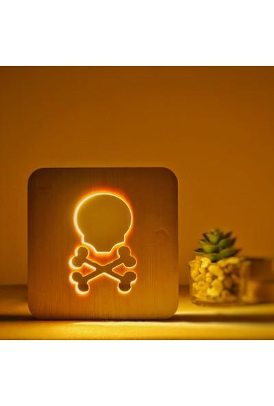 Starmood 3D 3 Boyutlu Ahşap Kuru Kafa Led Masa Üstü Gece Lambası