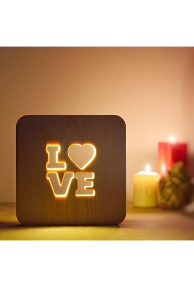 Starmood 3D 3 Boyutlu Ahşap Love Aşk Led Masa Üstü Gece Lambası