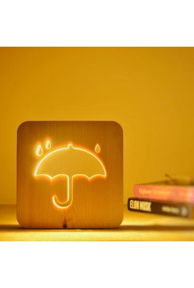 Starmood 3D 3 Boyutlu Ahşap Şemsiye Led Masa Üstü Gece Lambası