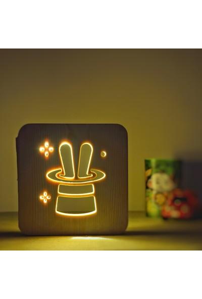 Starmood 3D 3 Boyutlu Ahşap Tavşan Şapka Led Masa Üstü Gece Lambası