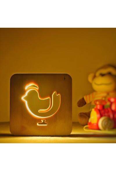 Starmood 3D 3 Boyutlu Ahşap Tavuk Led Masa Üstü Gece Lambası