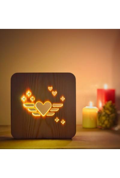 Starmood 3D 3 Boyutlu Ahşap Uçan Kalp Led Masa Üstü Gece Lambası