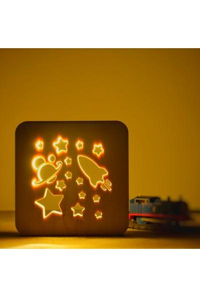 Starmood 3D 3 Boyutlu Ahşap Uzay Led Masa Üstü Gece Lambası