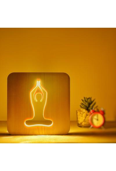 Starmood 3D 3 Boyutlu Ahşap Yoga Meditasyon Led Masa Üstü Gece Lambası