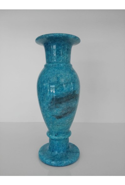 Mimart Stone Turkuaz Renkli Küp Vazo Mermer Dekor