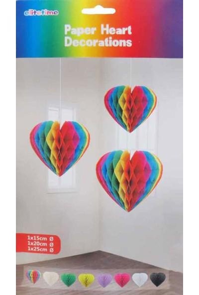 Tahtakale Toptancısı Asma Süs Petek Modeli Kalpli 3 lü Set Karışık Renk