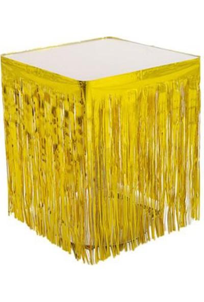 Tahtakale Toptancısı Masa Kenarı Eteği ve Fon Süsü Metalik Renkli Altın