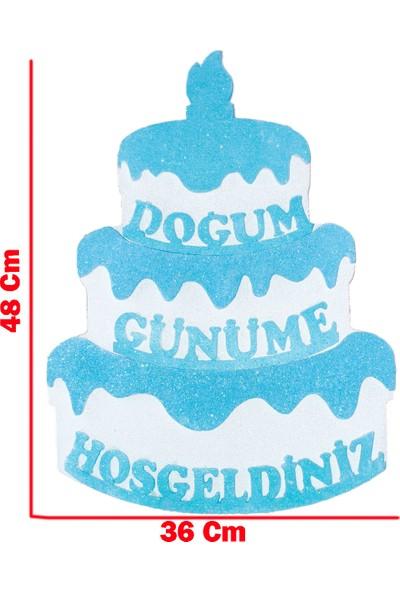 Tahtakale Toptancısı Strafor Kapı Süsü Pasta Modeli Doğum Günüme Hoşgeldiniz 48 x 36 cm Mavi